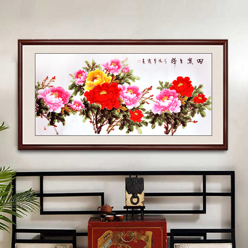 hand-painted peony flower painting Chinese traditional fengshui painting home decoration diplomatic gift scroll painting mural(China (Mainland))
