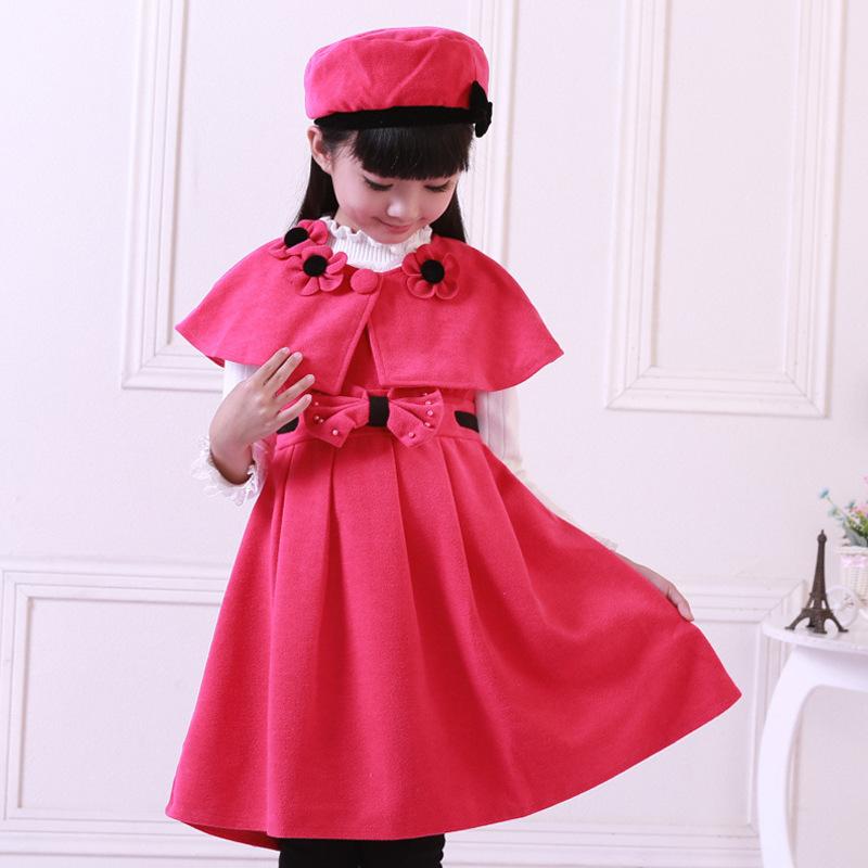 Childrens Clothing Autumn Winter Wool Princess Dress For Girls Three Piece Korean Girl Shawl Hat Dress Sets<br><br>Aliexpress