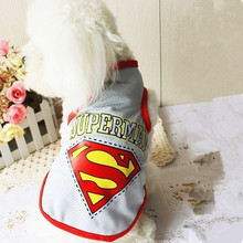 2015 New Cool Summer Pet Dog Clothes Fashion Superman Mesh Vest Shirt Clothes for Dogs Pet clothing Free Shipping