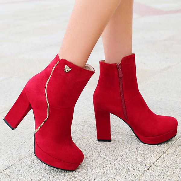 2014 autumn New Comfortable wild women boots pumps platform shoes woman thick high heels suede leather ankle boots size 34-43<br><br>Aliexpress