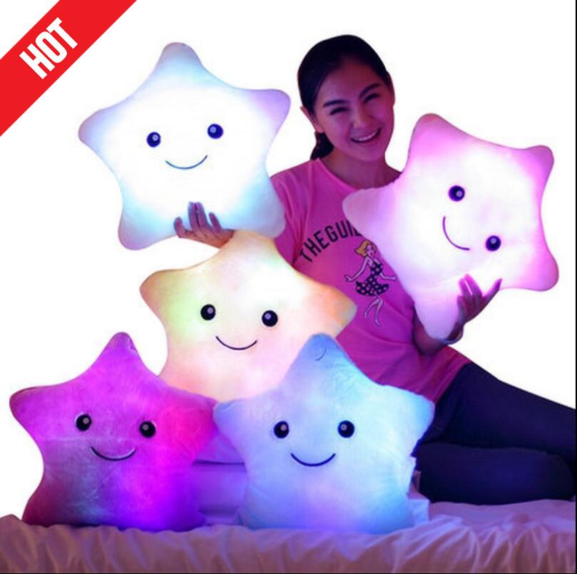 Promotion Pokemon Plush Cute Star Led Light Pillows Colorful Star Luminous Pillow Plush Pillow Toys for Children(China (Mainland))