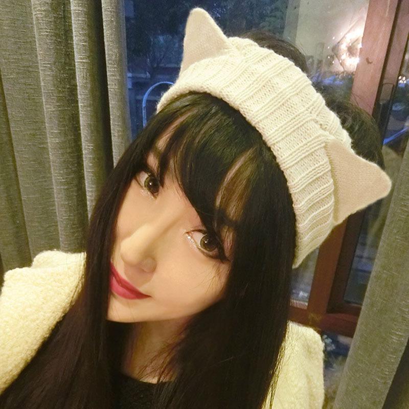 Retail winter women warm headband Crochet cat ear Knitted Headwrap Headband Winter Ear Warmer Hair Band for Women Accessory(China (Mainland))