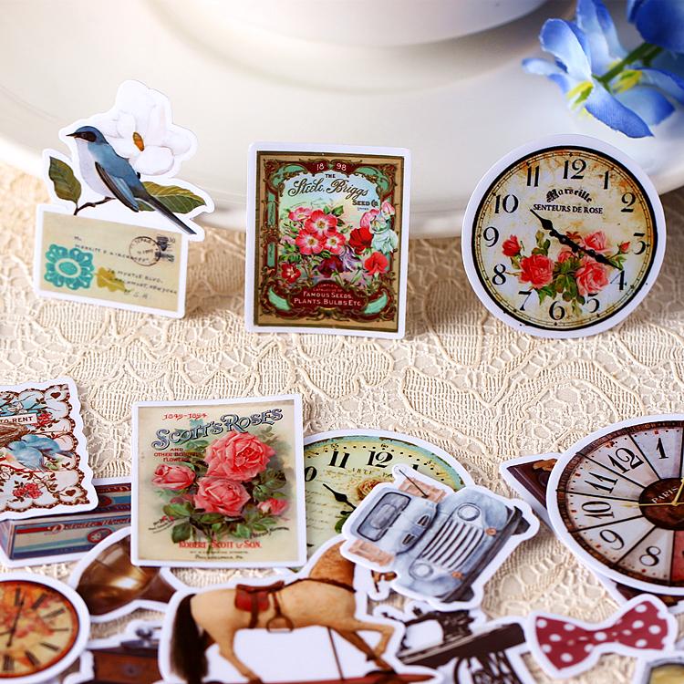 40pcs Self-made Retro Europea Vintage Stuff Clock Stickers DIY Craft DIY Sticker Pakc Photo Albums Deco Diary Deco(China (Mainland))