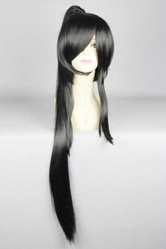 Hot heat resistant Kanekalon Party hair FREE SHIPPING&gt;&gt;New wig Cosplay TaroTachi long Black Wig Ponytails 90cm<br><br>Aliexpress