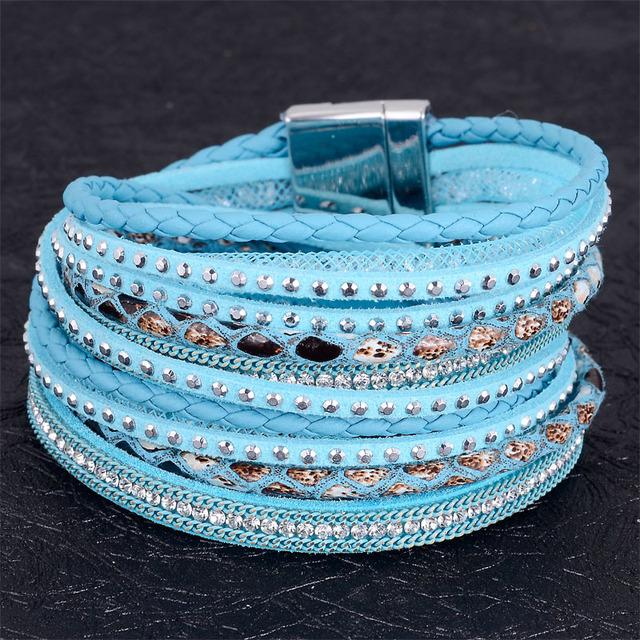 Двойной обертывание кожаный браслет stardust браслеты кристалл многослойные плетеные ...
