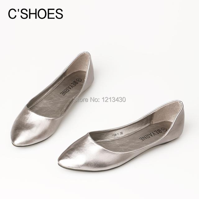 Новый 2016 классических женщины плоские пятки одной мелкая рот острым носом обувь ...