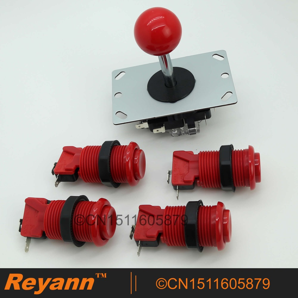 New Reyann Arcade DIY Kit 4 x Happ Standard Arcade Push Button + Arcade Joystick For Arcade Fighting Games 6 Color Available(China (Mainland))
