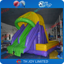 cheap price 0.55mm pvc tarpaulin 5x5x5m inflatable water slide, inflatable slide & slip into pool(China (Mainland))