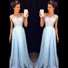 Long Evening Dresses 2016 New Arrival Formal Dresses Sweetheart Chiffon Blue Floor Length robe de soiree(China (Mainland))