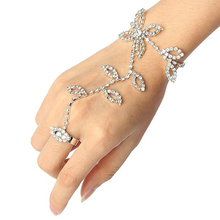 Fashion Style Leaves Hand Chain Bracelet Bangle Wedding Finger Ring Hands Chain Bridal Jewelry Accessories Handjewelry N042
