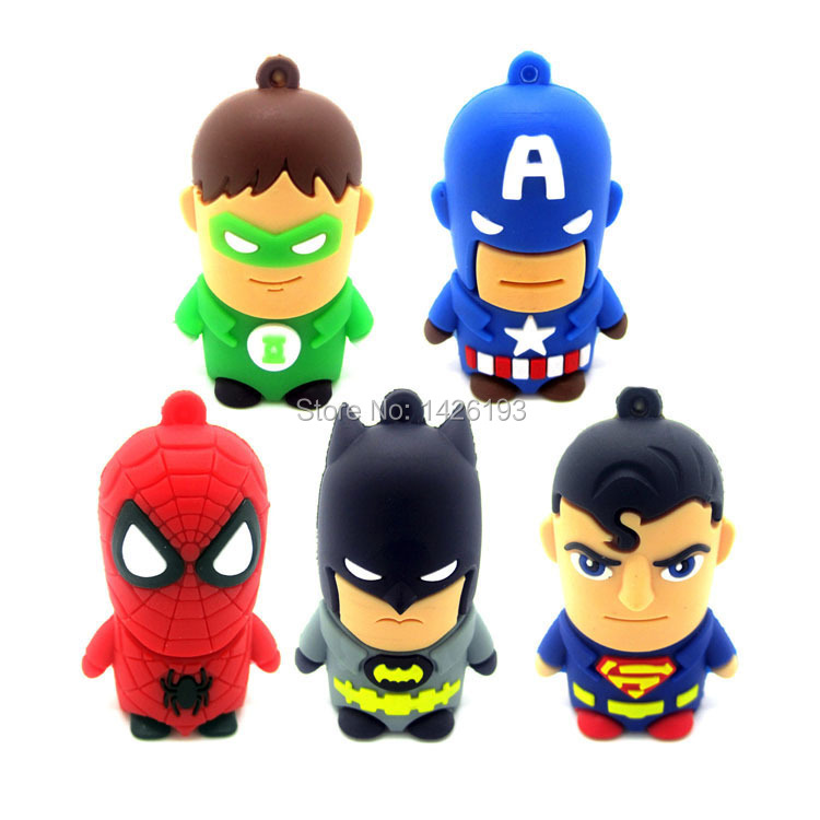 Cartoon Superman Spiderman Batman Captain America Silicone USB Flash Drive Pen Drive 128MB 2GB 4GB 8GB 16GB 32GB 64GB USB 2.0(China (Mainland))