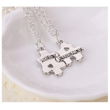 Sunshine 2PCS matching Puzzle Best friends letter necklace for women men friend jewelry friendship forever necklace silver color(China (Mainland))