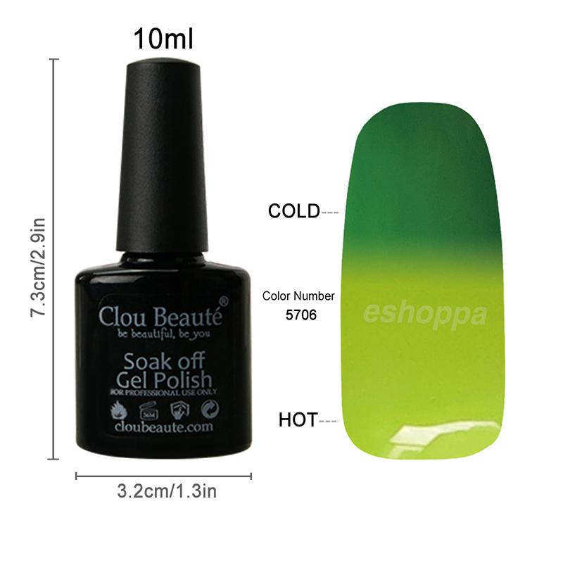 48 Colors Special Price 10ml Clou Beaute CB5706 UV Color Gel Nail Lacquer Soak Off Temperature Gel Polish(China (Mainland))