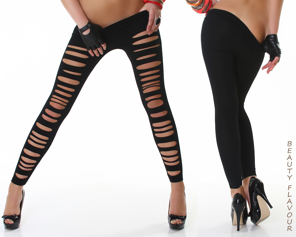 DDK056 Women s Sexy Ripped Leggings Torn Slashed Slit Cut Shredded Mesh Destroyed Leggins Skinny Pants
