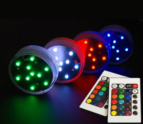 Assorted colors 10 SMDs waterproof led vase light base RC decor waterproof Wedding Party floral lights with Remote control(China (Mainland))