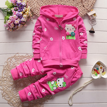 2016 new spring autumn baby girls clothing set children hoodies cotton girls t-shirts+pants sport suit set children outerwear(China (Mainland))