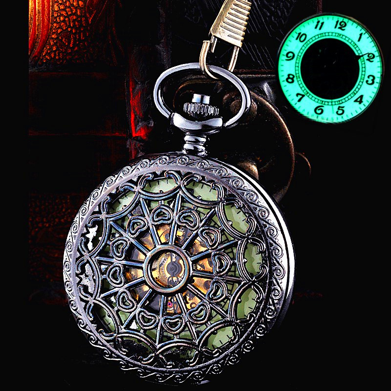 New Luminous Mechanical Pocket Watch Steampunk Vintage Hollow Cover Analog Skeleton Hand Winding Mechanical Pocket Watch for Men<br><br>Aliexpress