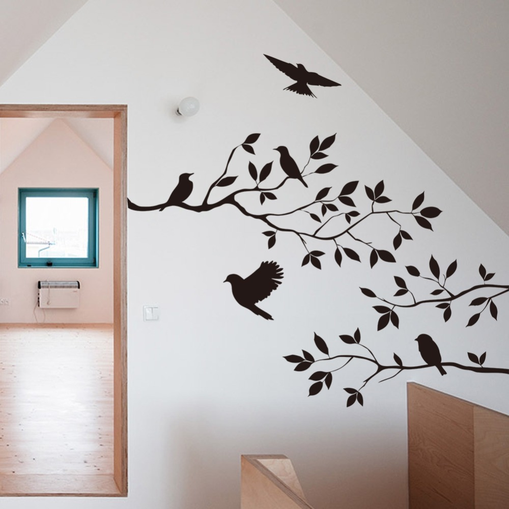 8208 Birds tree wall stickers creative removable vinyl sticker home decoration kids room decal wall decals(China (Mainland))