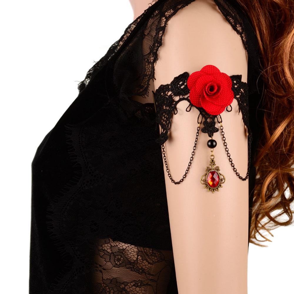 Summer Style New Statement Armband Rhinestone Drop Red Flower Lace Arm Chain Bracelet Handmade Vintage Bohemia Fashion Jewelry(China (Mainland))