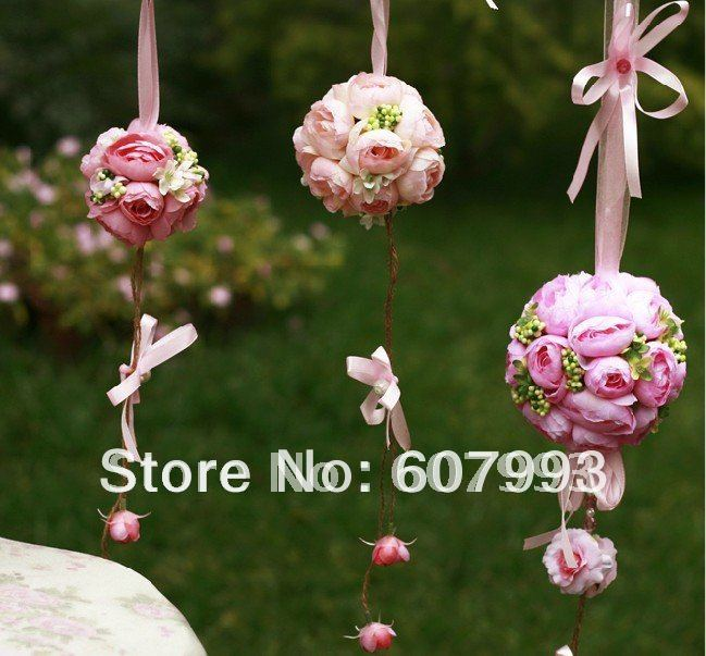 Tea Rose wedding ball , artificial hanging rose ball, party decoration silk flowers, 3 colours 9cm diameter Free shipping(China (Mainland))