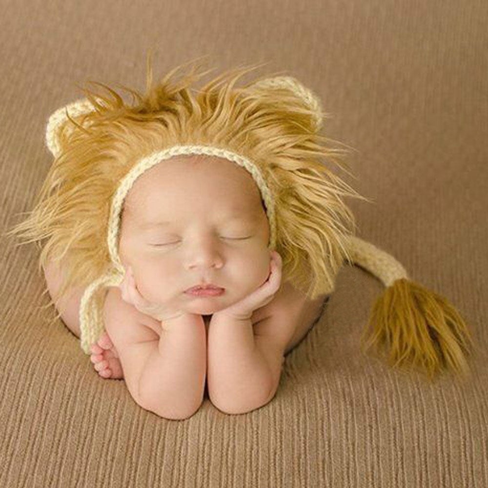 2017 Cool Baby Lion Hat and Tail Set Animal Pattern Baby Costume Photo Props Infant Beanie Cap Newborn Crochet Outfits(China (Mainland))