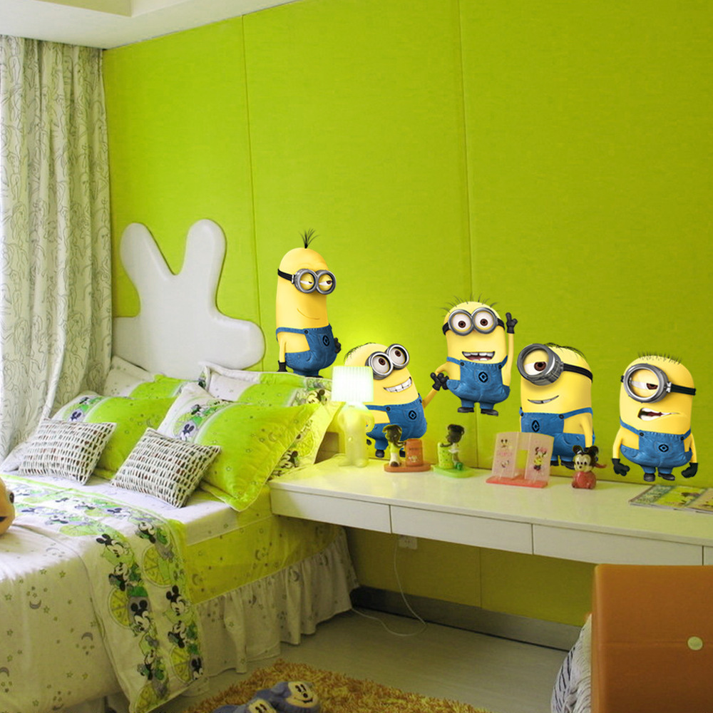 Despicable me 2 cute minions wall stickers for kids rooms decorative adesivo de parede removable pvc wall decal Free Shipping(China (Mainland))