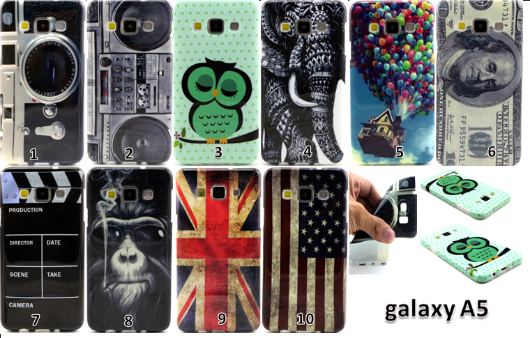 Fashion Retro UK&USA Flag Camera Monkey Elephant Pattern Soft TPU Silicone Back Case Cover for Samsung Galaxy A5 A5000 A500F(China (Mainland))