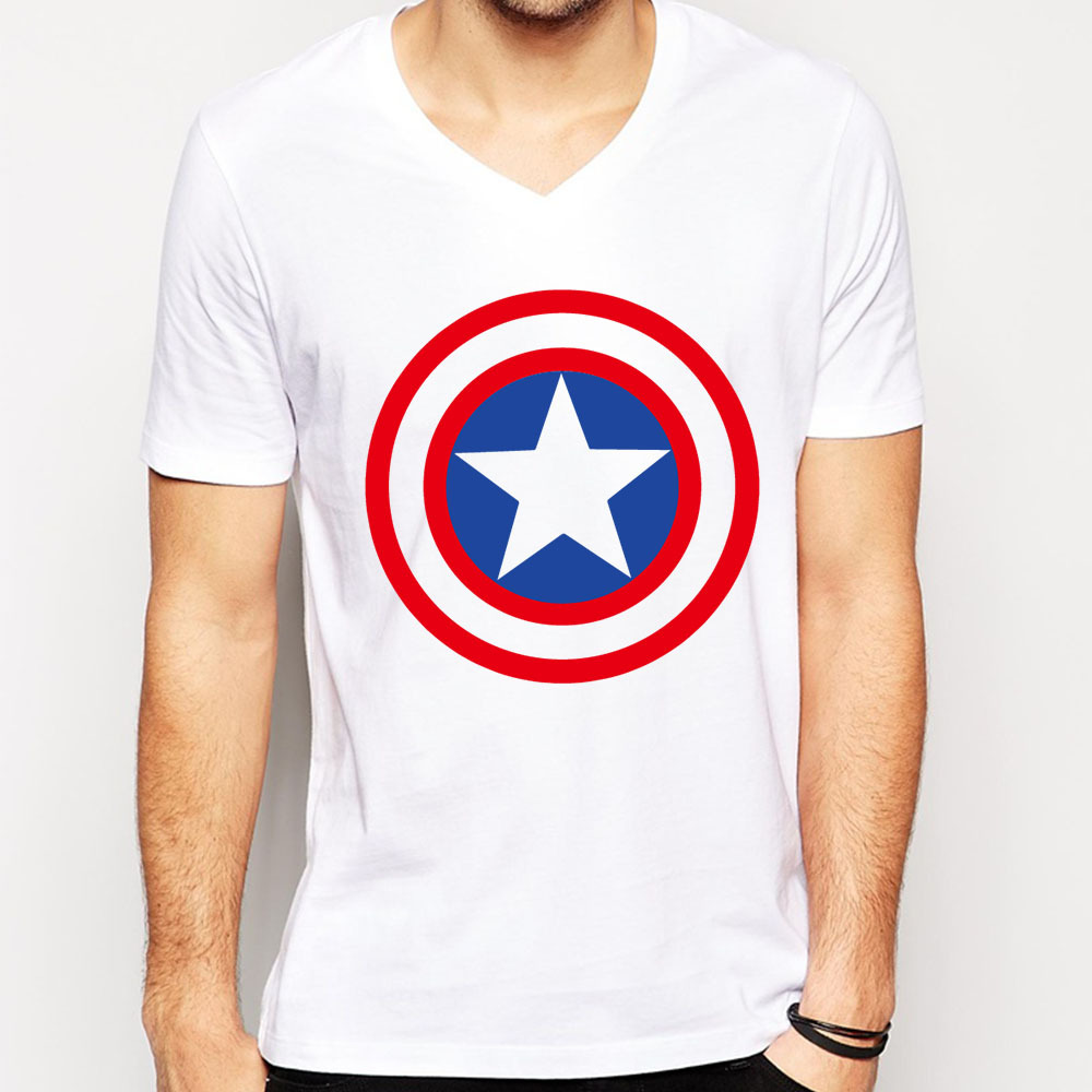 Free Shipping Captain American T Shirts Men Cotton V Neck