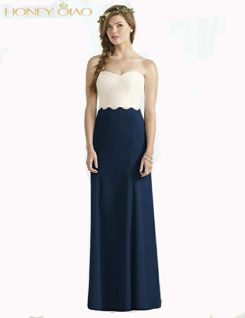 2016 A Line Dessy Satin Bridesmaid Dresses Dark Blue Sweetheart Strapless Backless Zipper Pleats Prom Party Gowns Vestidos(China (Mainland))