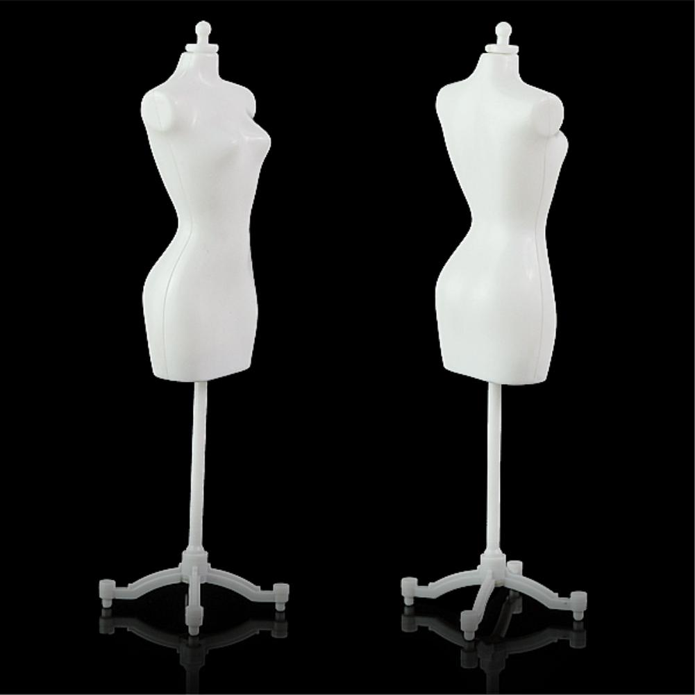 5PCS/LOT White Stand Clothes Clothing Garment Gown Dress Display Model For Dolls ES1129(China (Mainland))
