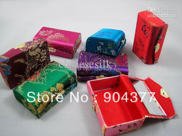 Elegant Mirror Mini Candy Gift Boxes Christmas Favors High End Silk Brocade Packaging Cases 12pcs/lot mix color Free shipping(China (Mainland))