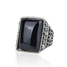 Vintage Jewelry Black Crystal Rings For Men Punk Rock Silver Plated Ring Fashion Designer Wedding Accessories Size 11