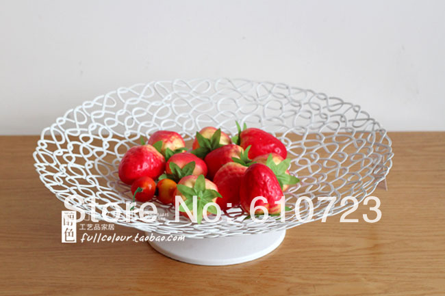 whole sale,The new modern European fashion contracted Creative, wrought iron fruit bowl cake plate household craft ornaments(China (Mainland))
