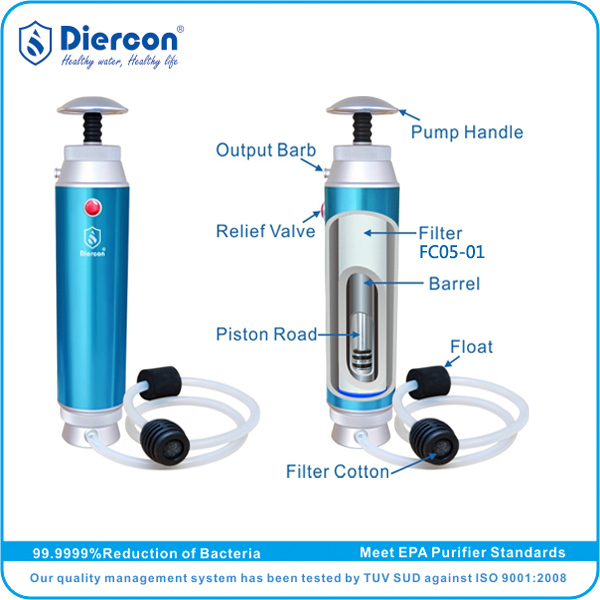 Hight qulity Supplier/Reseller Diercon portable water filter outdoor portable water filter output 1L/min 455g OEM/ODM(KP01-05)(China (Mainland))