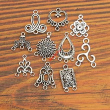 Buy 10pcs Mixed Antique Silver Plated Connector Charms Pendants Bracelet Jewelry Making Accessories Craft diy handmade Findings for $1.29 in AliExpress store