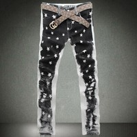 2013 spring and autumn print male straight jeans men's fashionable casual mid waist jeans