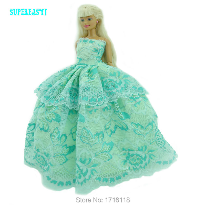 Strapless Lace Gown Wedding Party Dress Princess Costume Green Clothes For Barbie Doll FR Kurhn Puppet Girl Play House Toys Gift