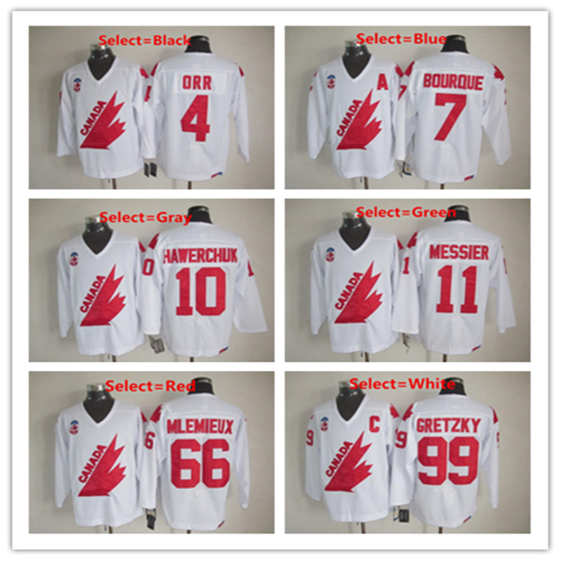 Mens 11 Mark Messier Gretzky Team Canada 1991Canada Cup White Red CCM Throwback Ice Hockey Jersey(China (Mainland))