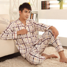 Free Shipping 17 Color New Autumn Winter Men's Pajamas Cotton Breathable Casual Pajamas Sets Plaid Sleepwear Nightwear  L-3XL(China (Mainland))
