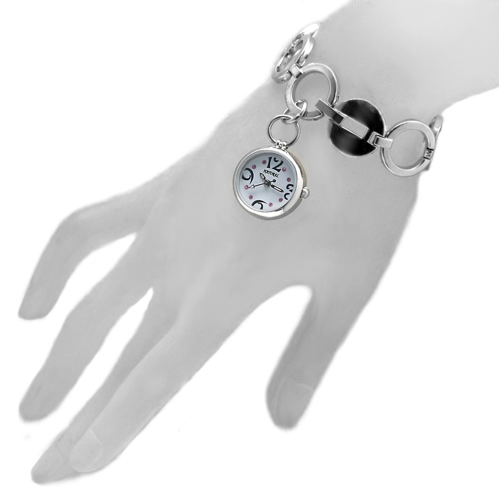 Hot Top NATURAL Brand Age Women Stylish Accessories Pendant Silver Watchcase White Dial Ladies Women Bracelet Watch FW605E(China (Mainland))