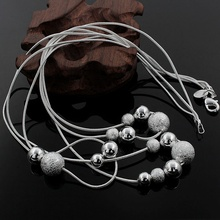 HOT sale!!!N020 Three Line Bead Necklace Factory Price Free shipping silver necklace.fashion jewelry jewellry necklace(China (Mainland))