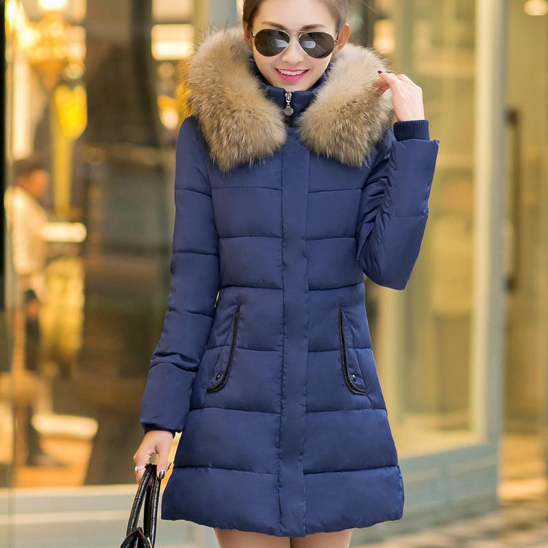 new Korean girls long size slim cotton padded jacket dress down thick winter coat winter jacket women parka arm winter clothes(China (Mainland))