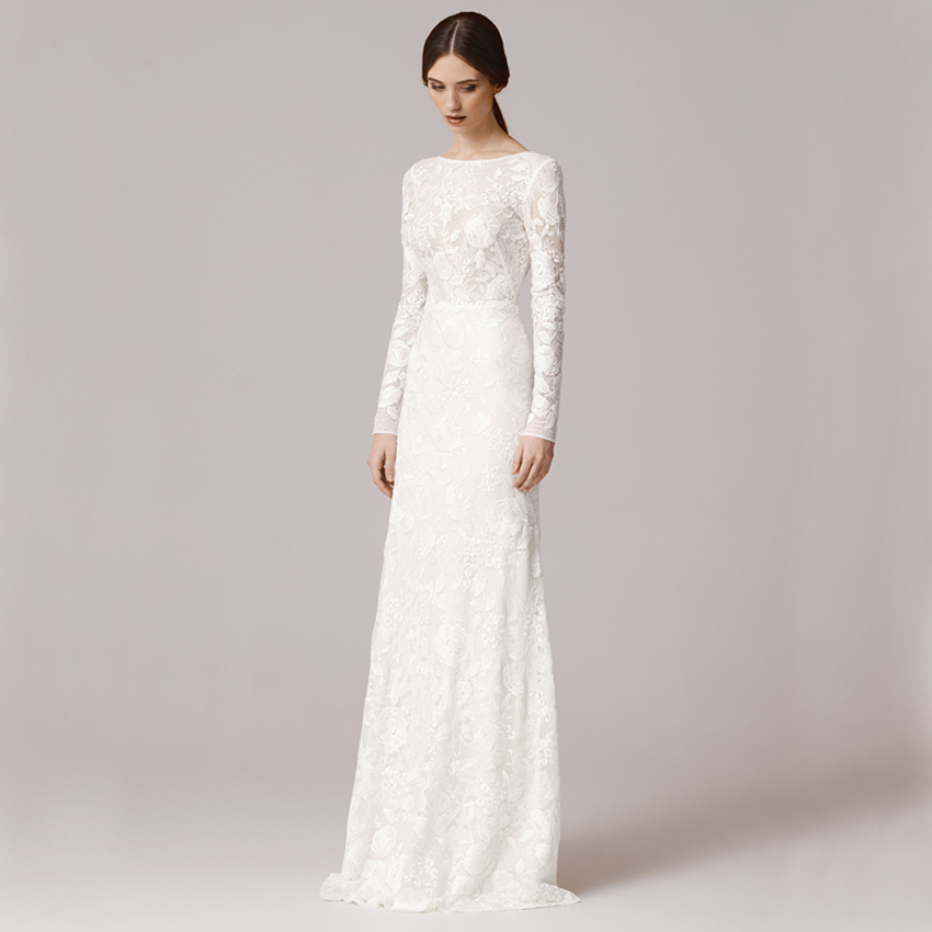 Vnaix FW1252 Vintage Lace Long Sleeve Sheath Wedding Dress 2016 Sexy Scoop Ba