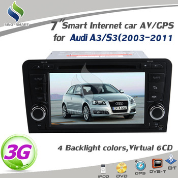 "Car PC for AUDI A3 free ship 7""Car headunit ARM 11 WIN CE 6.0 Canbus with 3G/GPS/6CDC/TV/Radio/iPod/BT/USB/SD+free map"