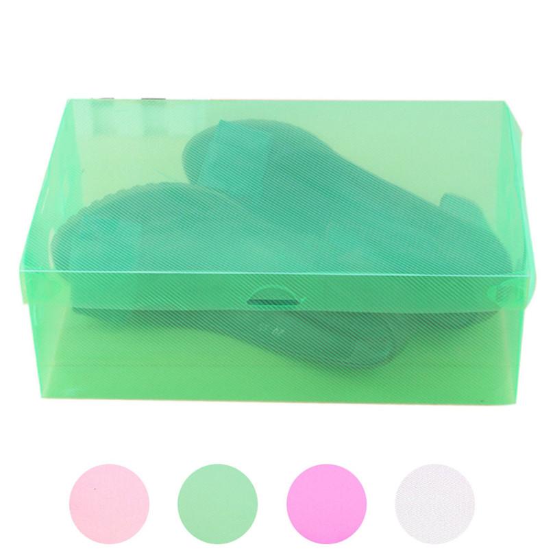Hot Selling 1PC Foldable Clear Shoes Storage Box Plastic Stackable Shoe Organizer Free Shipping Wholesale caja de almacenamien(China (Mainland))