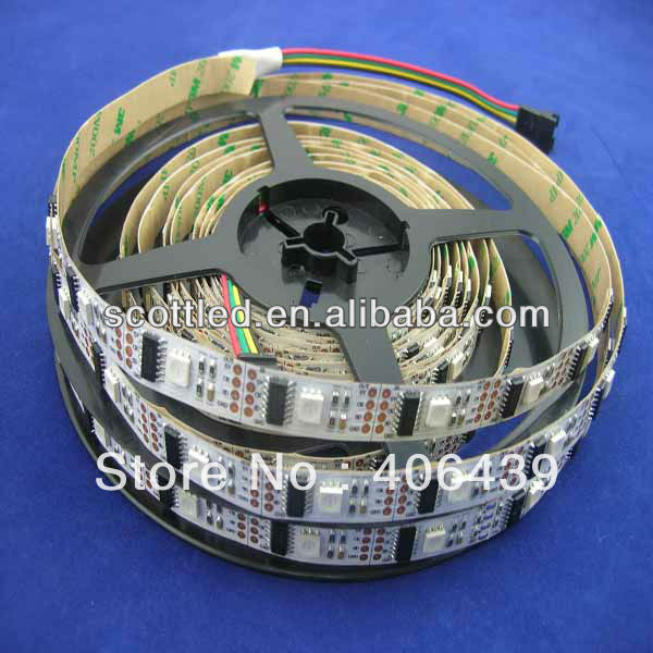 DC5V input,White PCB,non-waterproof IP20 WS2801 32leds/m led strips 5m/roll,WS2801 IC(256 scale,8 bit),32pcs 5050 RGB leds/m(China (Mainland))