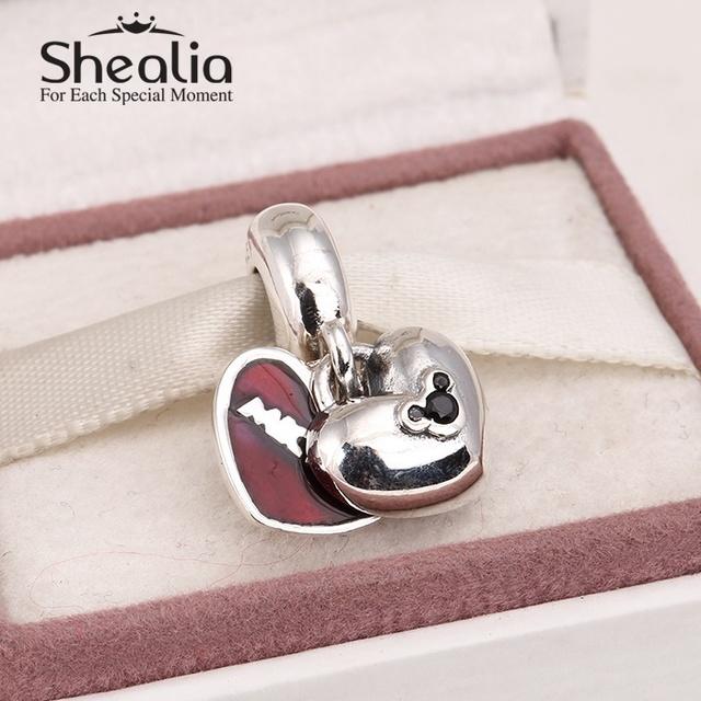 2015 новый микки и минни маус в форме сердца качает красной эмалью шарм подвески серебро 925 diy для браслеты Er470