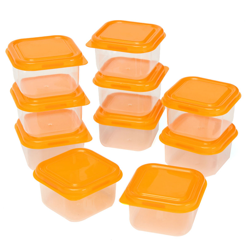 New Arrival High-end 10Pcs Reusable Plastic Food Sweet Storage Containers Organizer Box Set With Lids Lunch Boxes(China (Mainland))