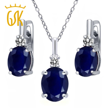 GemStoneKing Oval Blue Sapphire White Diamond Pendant Earrings 925 Sterling Silver Delicacy Wedding Jewelry Sets for Brides(China (Mainland))
