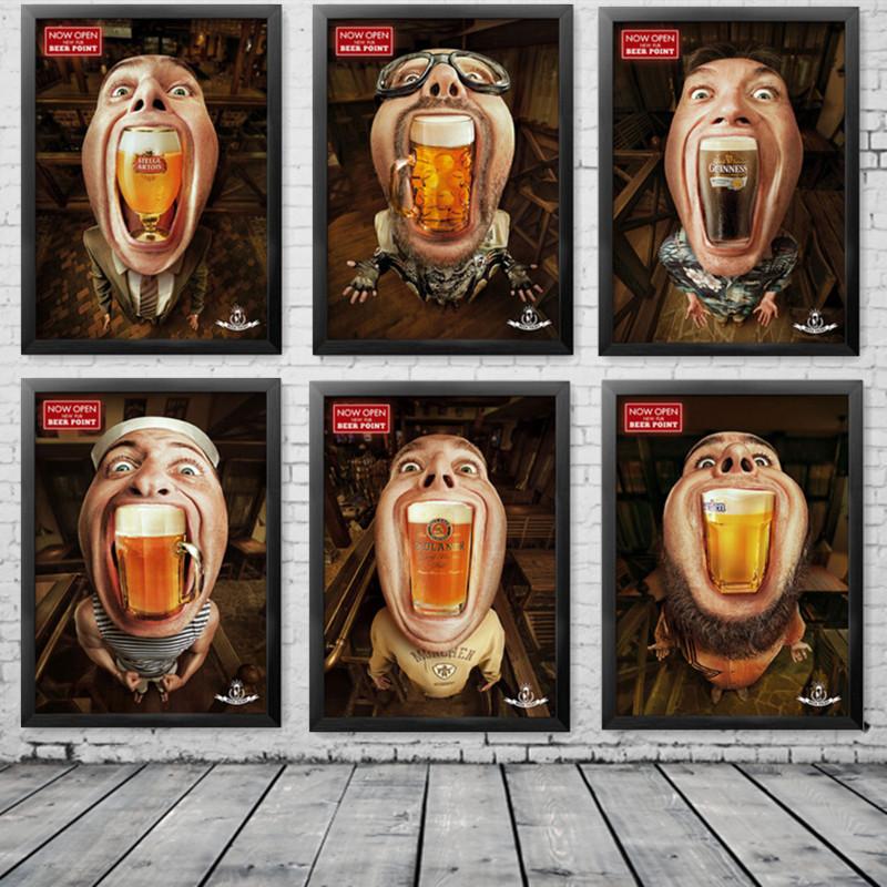 Modern creative beer bar decoration poster sofa background for Poster mural zen deco